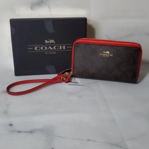 Coach Signature Double Zip Phone Wallet Brown/Red
